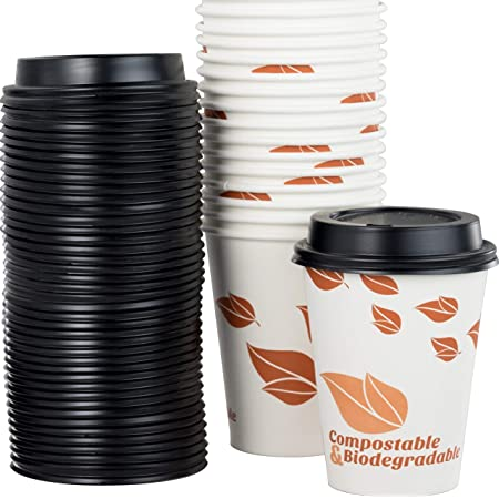 Amazon Com Biodegradable And Compostable 12 Oz Paper Coffee Cups And Recyclable Dome Lids 100 Pack By Avant Grub Medium Sized Pla Lined Disposable Beverage Cups For Hot Drinks At Shops Kiosks Cafes