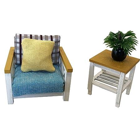 Doll House Miniature Kitchen Chair Wood 9,5cm Natural unalckiert
