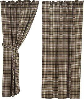 VHC Brands Rustic & Lodge Window Wyatt Tan Short Curtain Panel Pair, Khaki