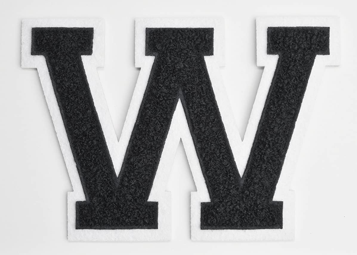 Varsity Letter Patches - Black Embroidered Chenille Letterman Patch - 4 1/2 inch Iron-On Letter Initials (Black, Letter W Patch)