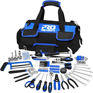 198-Piece General Household Hand Tool Set, PROSTORMER Multi-Purpose Home Repairing Tool Kit with Easy Carrying Tools Bag f...