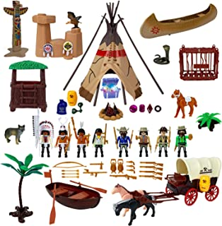 Liberty Imports Deluxe Wild West Cowboys and Indians Plastic Figures Playset - Educational Toy Soldiers Native American Action Figurines and Accessories
