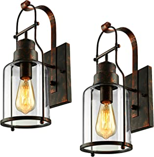 BAYCHEER Industrial Country Style 18'' H Wall Sconces Wall Lighting Wall Lamp Wall Fixture Loft Light with Cylinder Glass Shade use E26 Light Bulb Set of 2 Rust