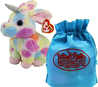 Ty Beanie Boos Fairytale Unicorn Begonia (Multi-Color Bunny) with Bonus Matty's Toy Stop Storage Bag