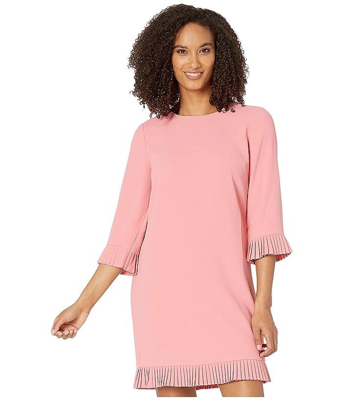 CeCe  3/4 Sleeve Moss Crepe Dress with Pleated Trim (Grapefruit) Womens Dress