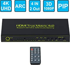 FERRISA 4x2 HDMI Matrix Switcher,Support 4K 3D 1080P with ARC PIP,4 Input 2 Output Matrix HDMI V1.4 Splitter Switch +Optical & L/R Audio Output,HDCP,IR Remote Control