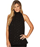 Vince Camuto - Sleeveless Gilded Diamonds Mock Neck Halter Blouse