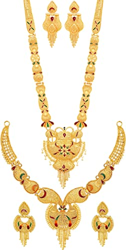 Combo Of Two Party One Gram Wax Forming Work Long Haram And Choker Multi Color Golden Jewellery Necklace Juelry Jwelry Set Jewellery For Women