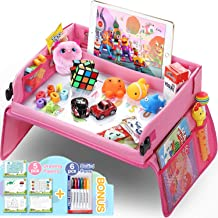 Upgraded Kids Travel Tray with Dry Erase Top Car Seat Travel Tray Bonus Educational Drawing Car Seat Activity Tray with 16 Organizer Pockets Snack Lap Tray Pink for Car Stroller Plane