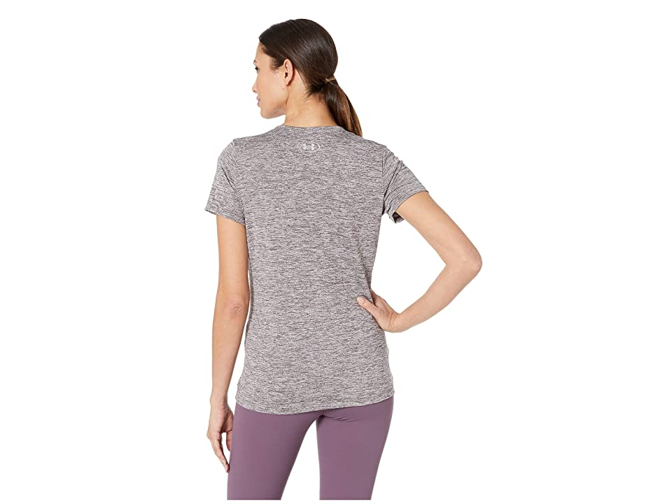 Under Armour UA Techtm Twist V-Neck (Ash Taupe/Metallic Silver) Women's Short Sleeve Pullover, Gray
