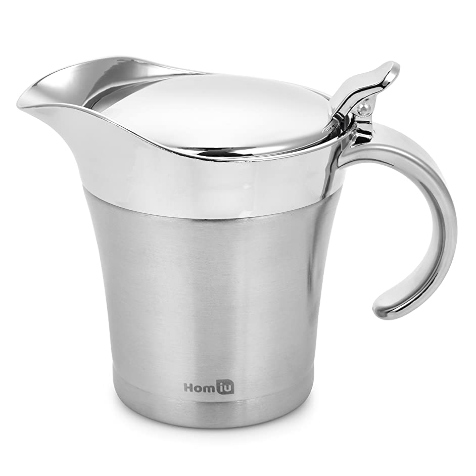 Homiu Gravy Boat Stainless Steel Double Insulated Hinged 17 Ounces / 500 Millilitres Capacity