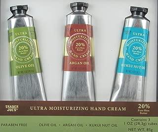 Trader Joe's Trio Of Ultra Moisturizing Hand Cream Set - Olive Oil, Argan Oil, Kukui Nut Oil (1 Ounce Each)
