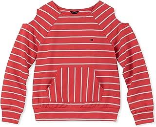 Girls' Cold Sholder Stripe Hoodie