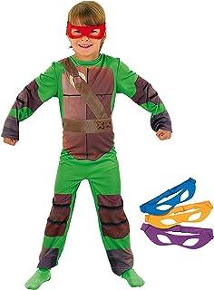 Tortugas Ninja - Disfraz de Tortuga Ninja con 4 antifaces