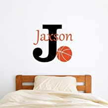 Custom Name Basketball Wall Decal - Boys Girls Personalized Name Basketball Sports Wall Sticker - Custom Name Sign - Custom Name Stencil Monogram - Boys Girls Room Wall Decor