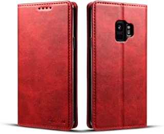 Samsung Galaxy S9 Wallet Cover, TACOO Genuine Leather 360 Protection Card Holder Kickstand Magnetic Protective Case for Samsung Galaxy S9 2018-Red