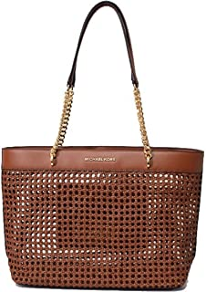 MICHAEL Michael Kors Women's Kinsley Rattan Carryall Tote Bag in Luggage, Style 35T9GYKT3I