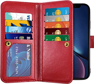 Vofolen Case for iPhone XR Case Wallet Leather PU Flip Cover Folio Detachable Magnetic Slim Shell Dual Layer Heavy Duty Protective Bumper Armor Wristband Card Holder for iPhone XR 10R Red
