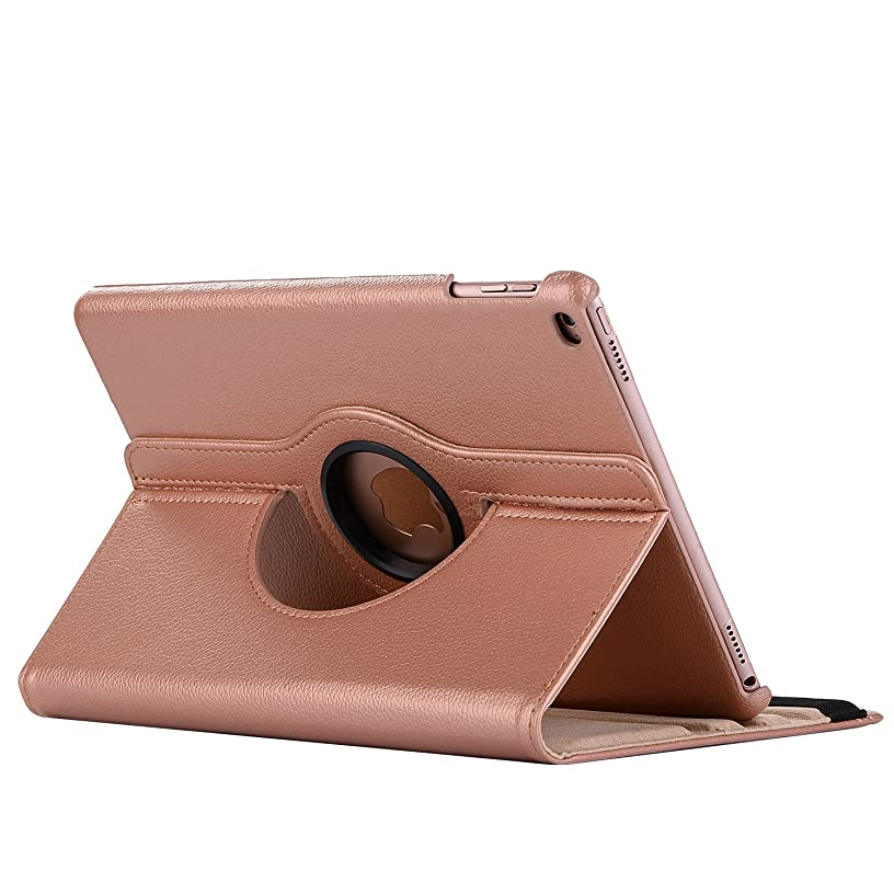 Smart Case for iPad 9.7 2018/2017, 360 Degree Rotating PU Leather Stand Protective Cover with Auto Sleep/Wake, Lightweight, Hard Back Cover for iPad 9.7 iPad 5th / 6th Generation (Rose Gold)