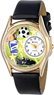 product image for Whimsical Watches Kids' C0820020 Classic Gold Soccer Black Leather And Goldtone Watch
