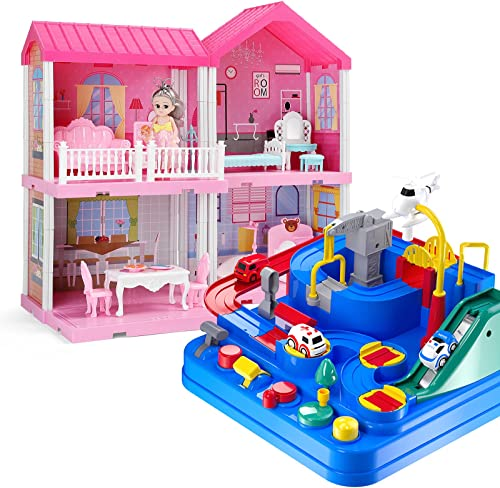 2021 Temi Kids Race Track Toys for Boy Car Adventure Toy and TEMI Dollhouse popular Dreamhouse Building Toys , DIY Cottage Pretend discount Play Doll House outlet sale