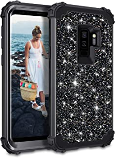 Casetego Compatible Galaxy S9 Plus Case,Glitter Sparkle Bling Three Layer Heavy Duty Hybrid Sturdy Armor Shockproof Protective Cover Case for Samsung Galaxy S9 Plus-Shiny Black