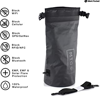 Silent Pocket Waterproof Faraday Dry Bag - Military-Grade Nylon 10 Liter Faraday Bag - RFID Signal Blocking Dry Sack / Waterproof Backpack Protects Electronics from Water, Spying, Hacking