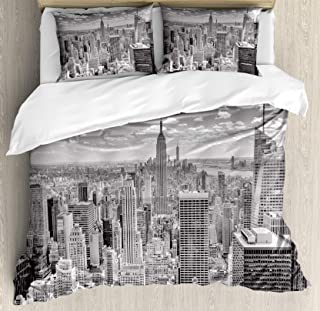 Ambesonne New York Duvet Cover Set, NYC Over Manhattan from Top of Skyscrapers Urban Global Culture City Panorama, Decorative 3 Piece Bedding Set with 2 Pillow Shams, Queen Size, Grey