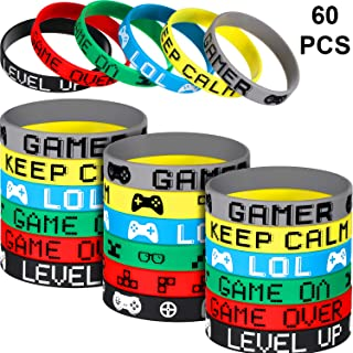 Jovitec 60 Pieces Video Game Bracelets Rubber Bracelets Game Party Wristbands Supplies Colored Silicone Bracelets for Gamer Birthday Party Favors, 6 Styles