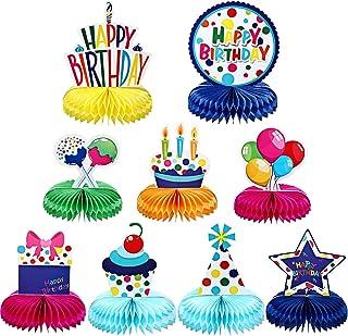 Frienda 9 Pieces Colorful Happy Birthday Decorations Rainbow Honeycomb Balls Centerpieces Table Topper Birthday Pom Poms f...