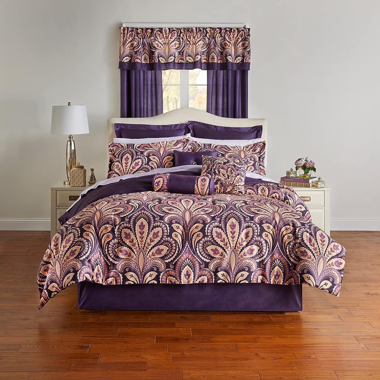 開店祝い BrylaneHome James 20 Piece 国内即発送 Comforter Wineberry - Purpl King Set