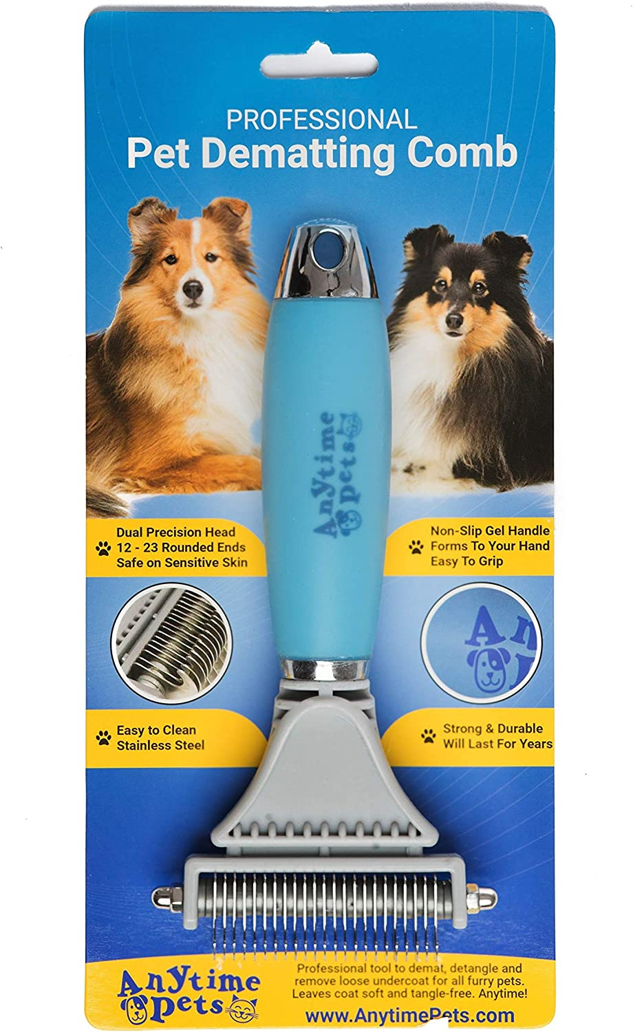 Dematting Rake Comb for Dogs & Cats  Professional Tool for Detangling Matted Hair, Deshedding, and Grooming  Gets Knots Out  by AnytimePets