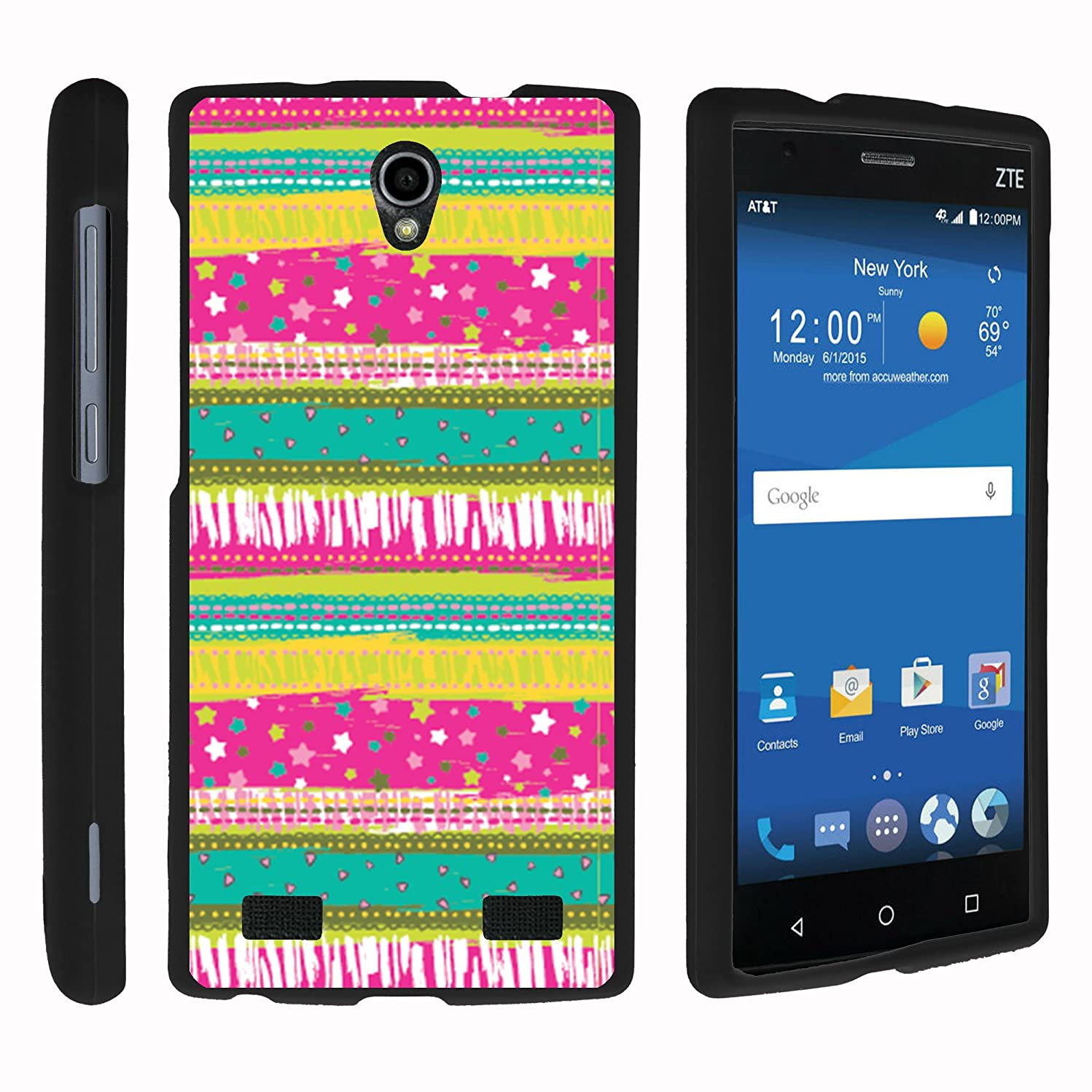 MINITURTLE Case Compatible w/ ZTE ZMAX 2 Phone Case, Stylish Personalized Protective Snap On Hard Case Phone Protector for ZTE ZMAX 2 Z958 - Dazzling Pattern