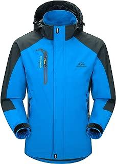 MAGCOMSEN Men's Hooded Windbreaker 3 Zip Pockets Lightweight Water-Resistant Softshell Raincoat Hiking Jacket