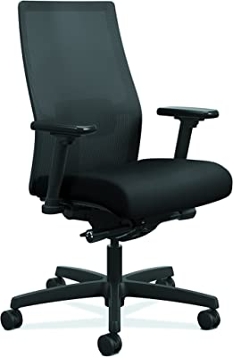 HON Ignition 2.0 Mid-Back Adjustable Lumbar Work Chair - Black Mesh Computer Chair for