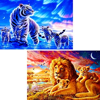 2 Pack 5D Diamond Painting Tigers & Lions Full Drill by Number Kits for Adults Kids, Ginfonr Craft Rhinestone King of Pola...