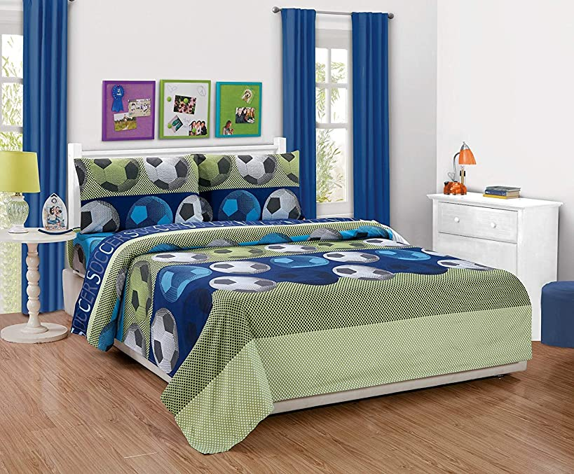 Twin Size 3pc Sheet Set for Boys/Teens Soccer Green Blue Black White New