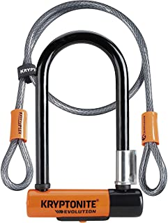 Kryptonite Evolution Mini-7 13mm U-Lock Bicycle Lock with FlexFrame-U Bracket & KryptoFlex 410 10mm Looped Bike Security C...