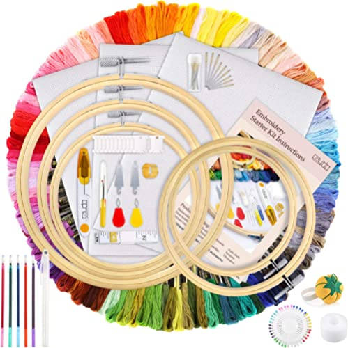 Caydo Hand Embroidery Kit with 100 Colors Threads, 40 Sewing Pins, 3 Pieces Aida Cloth, Instructions, Embroidery Hoop...