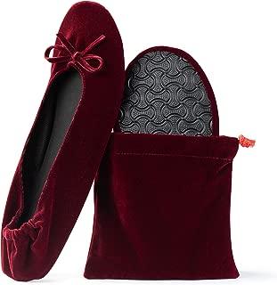 Women's Velvet Foldable Ballet Flats Portable Travel Shoes
