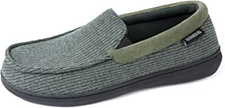ULTRAIDEAS Men's Cozy Memory Foam Moccasin Slippers with Anti-Skid Indoor Rubber Sole, Breathable Lightweight Knitted Clos...
