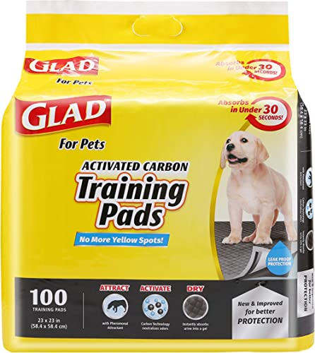 Glad for Pets Activated Carbon Dog Pee Pads   Puppy Training Pads for Absorbing Odor and Urine, 100 Count
