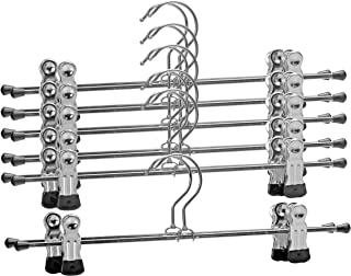 Mawa by Reston Lloyd Space-Saving Clothes Hanger for Pants and Skirts with Two Non-Slip Clips, Style K/30D, 12-Inch, Set of 12, Black