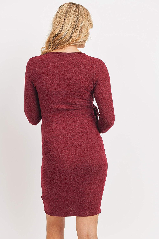 LaClef Womens 3//4 Sleeve Faux Wrap Maternity Knit Dress