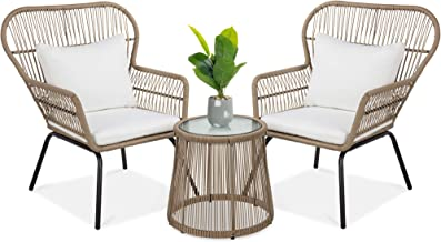 Best Choice Products 3-Piece Outdoor All-Weather Wicker Conversation Bistro Furniture Set w/ 2 Chairs and Glass Top Side T...