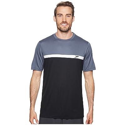 Speedo Color Block Short Sleeve Swim Tee (Speedo Black) Men
