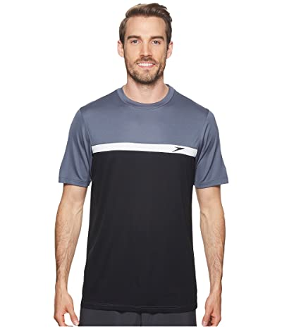 Speedo Color Block Short Sleeve Swim Tee (Speedo Black) Men