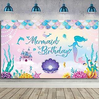 Under The Sea Little Mermaid Backdrop Girls Birthday Background for Photography Children Birthday Party Banner Photo Studi...