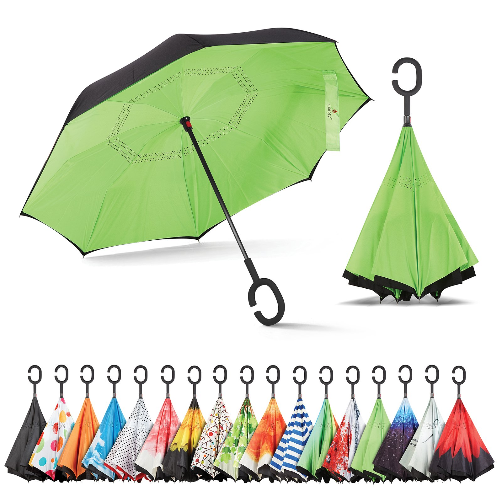 Sharpty Windproof Umbrellas Protection Black Green