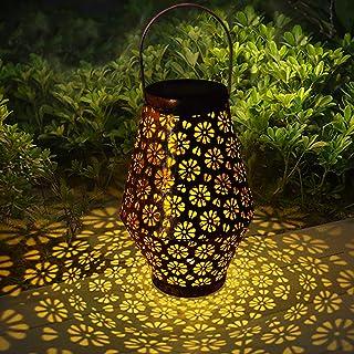 Lanterne Solaire de Jardin, Hangrui Lumière Solaire Extérieure LED Lanterne Solaire Sculptée en Métal Creux Suspendu IP65 ...